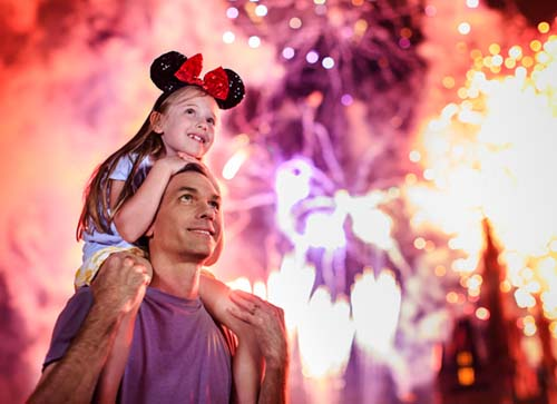 Disney World Fireworks with Dad and Daughter