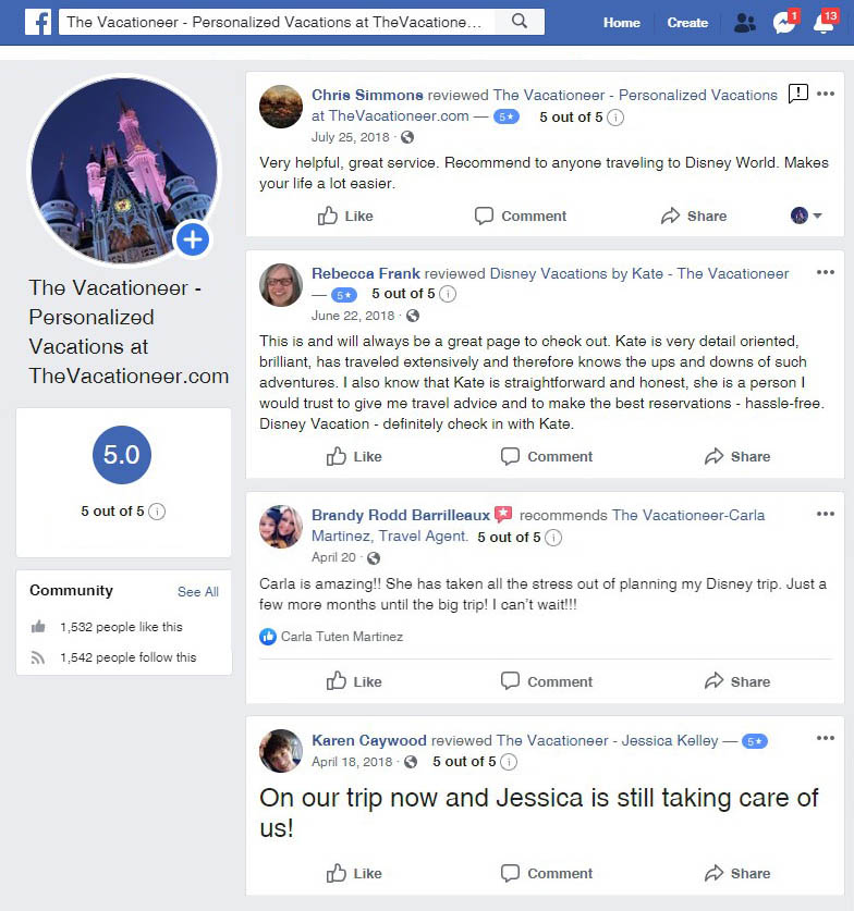 The Vacationeer Facebook Reviews