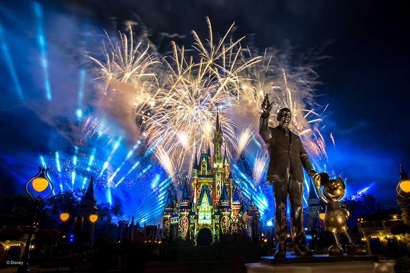 Disney Fireworks Behind Partners Statue