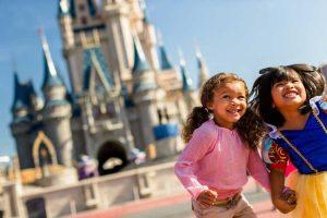 Children in Front of Disney Castle
